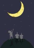 El cielo nocturno superficial de la historieta de la asociación de la luna del ratón que se sienta muestra Foto de archivo