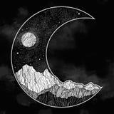El cielo nocturno y las montañas ajardinan bajo la forma de luna creciente Ilustraci?n aislada del vector invitaci?n tatuaje ilustración del vector