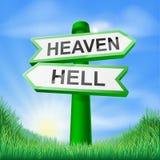 El cielo o el infierno firma adentro el campo Fotos de archivo