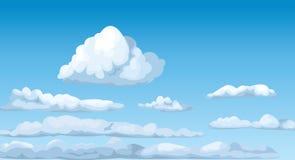 El cielo soleado azul de Cloudscape se nubla vector mullido del cielo de la atmósfera del cúmulo ilustración del vector