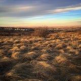El cielo y las nubes coloridos de la puesta del sol sobre pradera colocan Foto de archivo