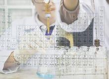 El científico está haciendo el experimento, la titulación del reactivo en el frasco y del reactivo químico del terraplén adentro  Fotografía de archivo libre de regalías