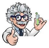 El científico Holding Test Tube de la historieta manosea con los dedos para arriba libre illustration
