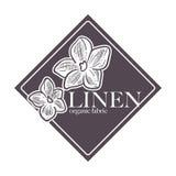 El 100 cientos por ciento natural de lino del vector del producto natural de la garantía stock de ilustración