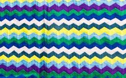 El cierre colorido de la superficie de la manta del estilo de Tailandia encima de la tela del vintage se hace de tela de algodón  Fotografía de archivo