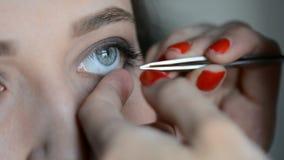 El cierre encima del artista de maquillaje que pone en maquillaje en el ` modelo s observa y las frentes con imagen del cosmeticm almacen de metraje de vídeo