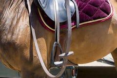 El cierre para arriba del estribo en el caballo durante la competencia hace juego Fotografía de archivo libre de regalías