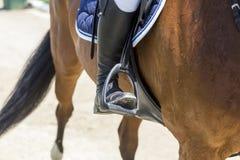 El cierre para arriba del estribo en el caballo durante la competencia hace juego Foto de archivo libre de regalías