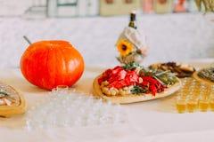 El cierre-upancy adornó la comida rural europea tradicional y bebe la tabla del abastecimiento Imagen de archivo libre de regalías