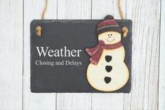 El cierre y los retrasos del tiempo firman en una pizarra colgante con el muñeco de nieve foto de archivo