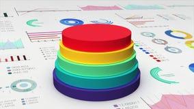 El cilindro de cinco círculos que cae diagram en el gráfico económico, carta financiera, para el templete de la presentación (la  ilustración del vector
