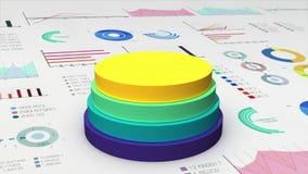 El cilindro de cuatro círculos que cae diagram en el gráfico económico, carta financiera, para el templete de la presentación (la stock de ilustración
