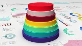 El cilindro de siete círculos que cae diagram en el gráfico económico, carta financiera, para el templete de la presentación (la  ilustración del vector
