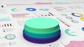 El cilindro de tres círculos que cae diagram en el gráfico económico, carta financiera, para el templete de la presentación (la a libre illustration