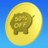 El cincuenta por ciento de la moneda muestra a 50 trato a mitad de precio Foto de archivo libre de regalías