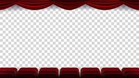 El cine preside vector Película, película, teatro, auditorio con Seat rojo, fila de sillas Pantalla en blanco En ilustración del vector