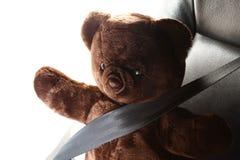 El cinturón de seguridad en la acción de la cerradura con la muñeca del oso Imagen de archivo libre de regalías