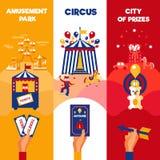 El circo del parque de atracciones marca 3 banderas verticales libre illustration