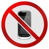 El ` circular ningunos teléfonos permitió la muestra/el icono del ` Aislado en blanco ilustración del vector