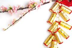 el ciruelo chino de las decoraciones del festival del Año Nuevo florece en blanco con Foto de archivo libre de regalías