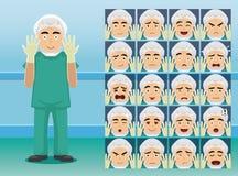 El cirujano Cartoon Character Emotion del hospital hace frente Fotos de archivo