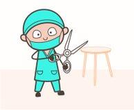 El cirujano Holding de la historieta las tijeras grandes Vector ilustración del vector