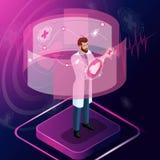 El cirujano isométrico mira las pruebas, diagnostica la enfermedad y supervisa su desarrollo libre illustration
