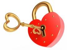 El clave abre el candado Imagen de archivo