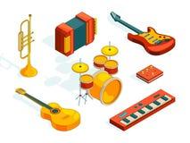 El claxon de la música fijó 3 Las imágenes isométricas fijaron de las diversas herramientas coloreadas del músico libre illustration