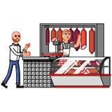 El cliente indica las mercancías que quieren comprar ilustración del vector