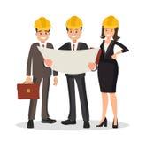 El cliente y el contratista del ingeniero están discutiendo el proyecto ilustración del vector