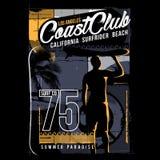 El club California de la costa del ejemplo que practica surf practica surf a Rider Beach stock de ilustración