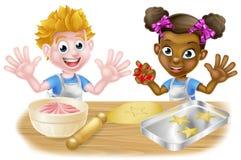 El cocer de los panaderos de los niños de la historieta Fotografía de archivo libre de regalías