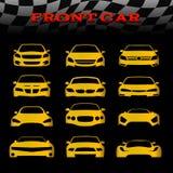 El coche amarillo del cuerpo delantero y las banderas a cuadros vector diseño determinado Fotografía de archivo