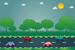 El coche corre en el estilo del arte del papel del camino, ejemplo ilustración del vector