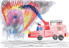El coche de bomberos rescata la casa. dibujo del niño Imagen de archivo