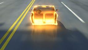 El coche de la ciudad unhiding de invison con el fuego flamea efecto stock de ilustración