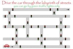 El coche de la impulsión a través del laberinto de calles, va por los semáforos verdes, juego para los niños, actividad preescola stock de ilustración