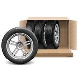 El coche del vector rueda adentro la caja del cartón ilustración del vector
