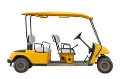 El coche eléctrico amarillo del golf con cuatro asientos fotos de archivo libres de regalías