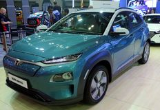 El coche eléctrico de Hyundai Kona es una cruce subcompact SUV de la cinco-puerta diseñado por Hyundai, imagenes de archivo