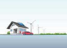 El coche eléctrico que carga en la pared de carga coloca en casa stock de ilustración