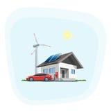 El coche eléctrico que carga en la pared de carga coloca en casa ilustración del vector