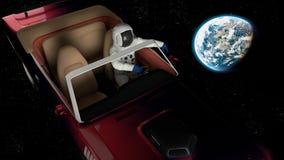 El coche en espacio Imagen de archivo