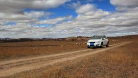 El coche en glassland en Inner Mongolia Imagenes de archivo