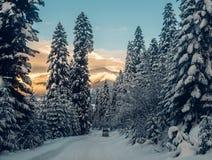 El coche está montando en el camino de la nieve del polvo en las montañas Fotos de archivo