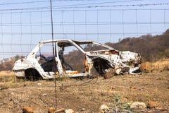 El coche estrelló la ruina Imagen de archivo libre de regalías