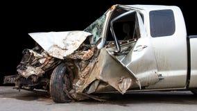 El coche fue demolido Foto de archivo