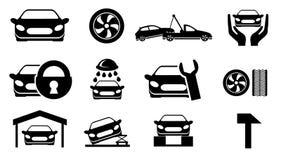 El coche mantiene iconos Stock de ilustración