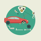 El coche parte servicio de reparación auto Vista lateral Ilustración del vector Fotos de archivo